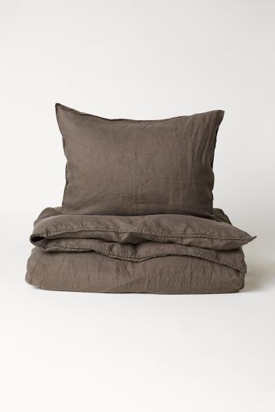 Washed Linen Duvet Cover Set Dark Taupe Home All H M Us Washed Linen Duvet Cover Duvet Cover Sets Linen Duvet Covers