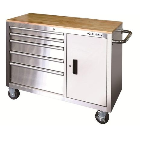 Husky 46 In 5 Drawer And 1 Door Stainless Steel Mobile Workbench Hyls 4806 The Home Depot Mobile Workbench Stainless Steel Tool Chest Workbench