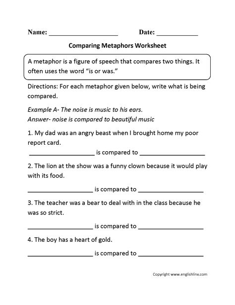 Figures of Speech Worksheets | Teaching Writing | 4th grade ...