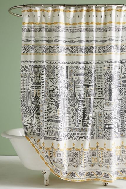 Anthropologie Nurata Shower Curtain Yellow Shower Curtains Boho