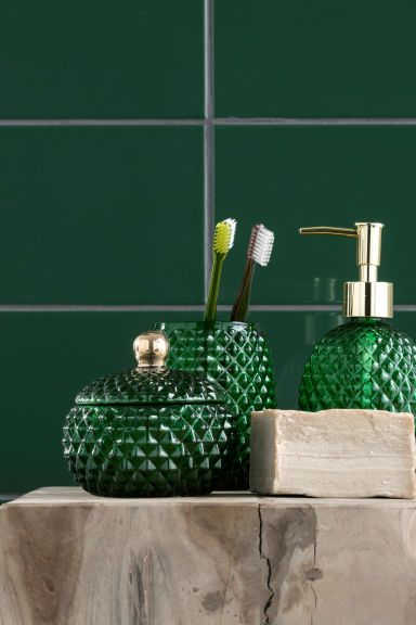Green And Navy Blue Glass Soap Or, Green And Blue Bathroom Accessories