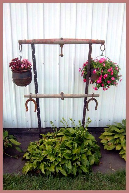 Nancy K Meyer& singletree plant hanger is displayed as well as displaying her flowerpots Garden Junk, Garden Yard Ideas, Garden Crafts, Diy Garden Decor, Lawn And Garden, Garden Projects, Le Ranch, Flea Market Gardening, Rustic Gardens