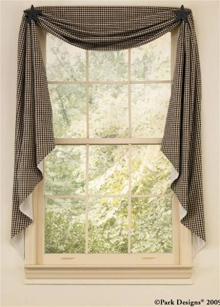 Charming Not This Fabric   But Draped Like This...in The Kitchen...would Let In A  Lot More Light! | Kitchen Misc. | Pinterest | Primitive Windows, Swag  Curtains And ...