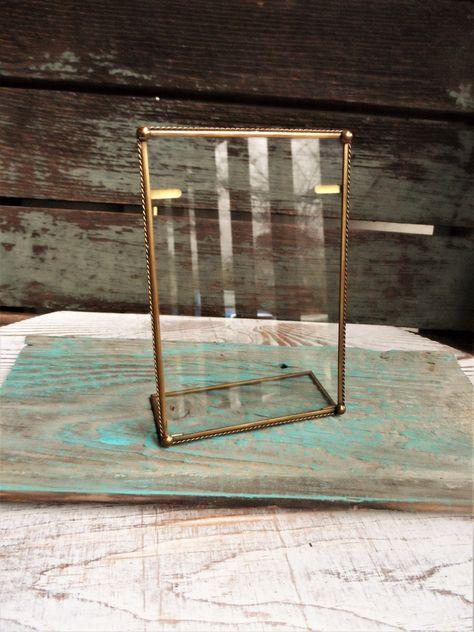 Antique Brass Glass// Metal Picture Photo Frame Vintage Portrait Black//Gold