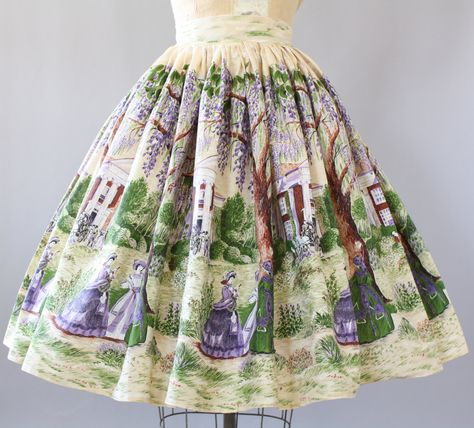 Vintage 50s VERY RARE novelty print scene of a Southern town and debutante women standing in front of mansions. Cotton skirt. Very full skirt.