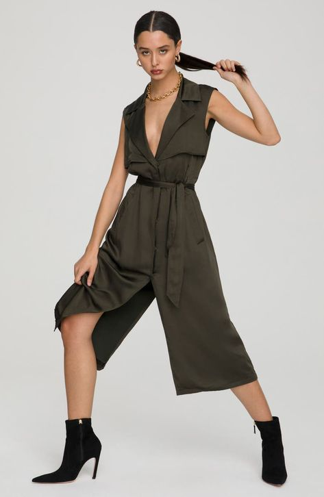 An alluring take on military chic, this trench-inspired dress is cut with a plunging neckline and slits at the front and back from silky, parachute-style fabric.