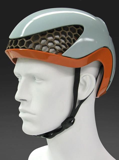 velocity cycling helmet I entirely constructed from recycled polyethylene I can be fully recycled after its use I honeycomb structure providing impact absorption and allowing for air ventilation