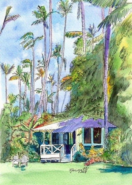 Hawaiian Cottage II print from Kauai Hawaii blue purple periwinkle USD) by kauaiartist