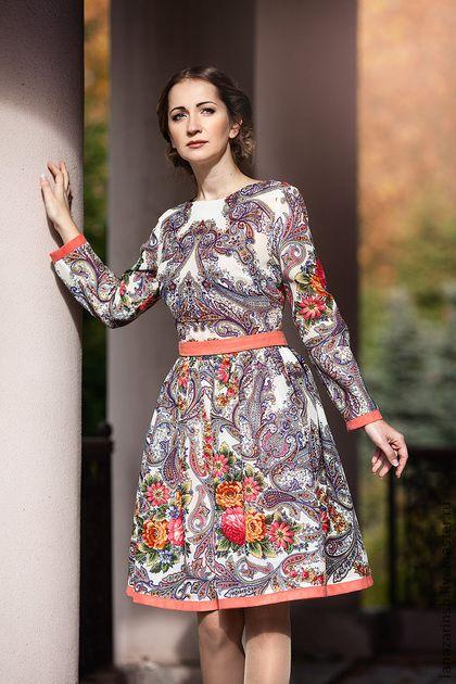 Платье павлопосадский платок