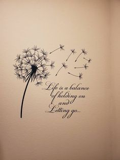 Dandelion Wall Decal Quote Life Is A Balance Holding On | Etsy
