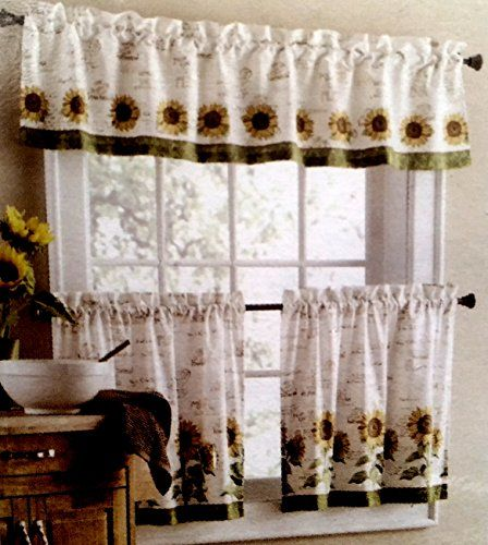 Amazon Com Sunflower Window Curtain Set 3 Pc Home Kitchen Kitchen Curtains And Valances Sunflower Kitchen Decor Curtains
