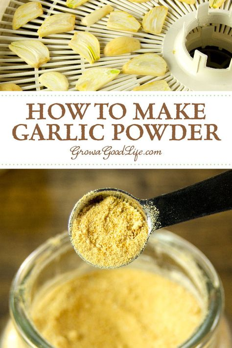 How to Dehydrate Garlic: Dehydrating garlic increases the shelf life of your homegrown garlic. Once dried, garlic powder can last a long time in your pantry or spice cabinet. Homemade Spices, Homemade Seasonings, Homemade Dry Mixes, Dehydrated Food, Dehydrated Apples, Dehydrated Vegetables, Canning Vegetables, Canning Recipes, Jar Recipes