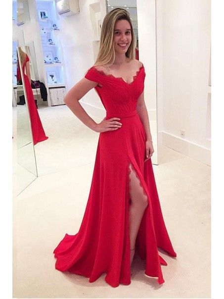 Elegant Long Red Off-the-Shoulder Lace Chiffon Prom Dresses Party Evening Gowns 99602352