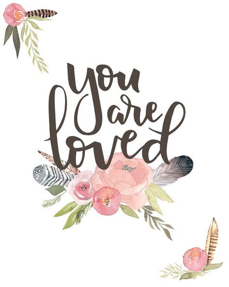 """Spread some love with this sentimental and sweet nursery print!The phrase """"You are loved"""" is hand lettered and paired with watercolor flowers and feathers. So sweet for a girls room or nursery!  Choose size: 5x7, 8x8, 8x10, 10x10, 11x14 Printed on Ultra Premium Epson Paper Framing required"""