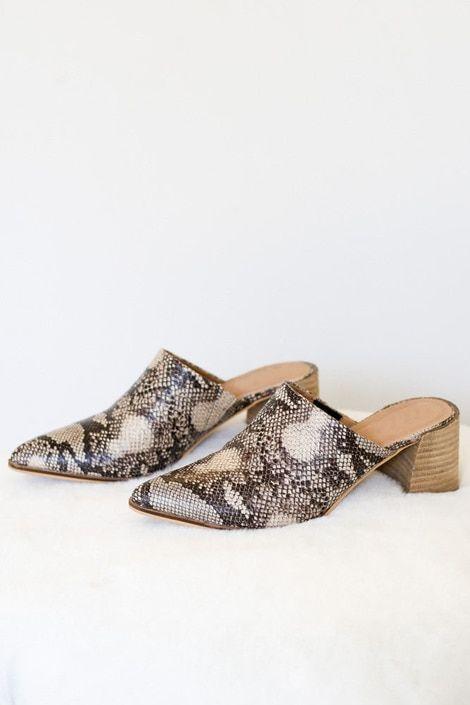 Mules in snakeskin print Flat Lay