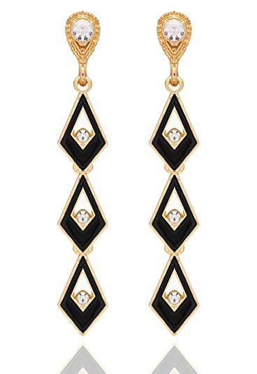 Crunchy Fashion Jewellery Gold Plated Stylish Black Crystal