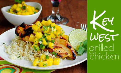 Key West Grilled Chicken with Cilantro Lime Cauliflower Rice. Perfect for a July 4th BBQ!
