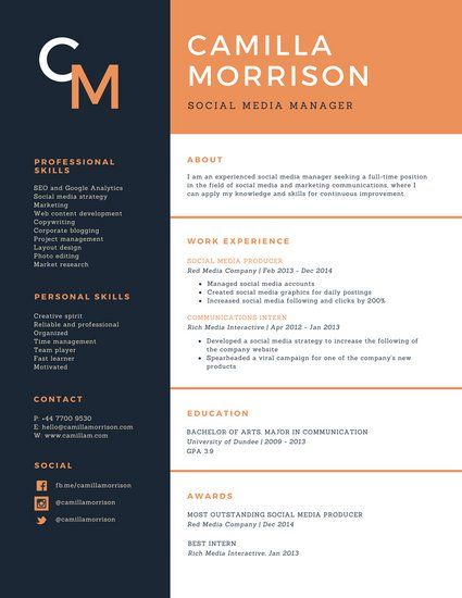 Blue And Orange Formal Academic Resume Modern Resume Template Resume Template Professional Resume Templates