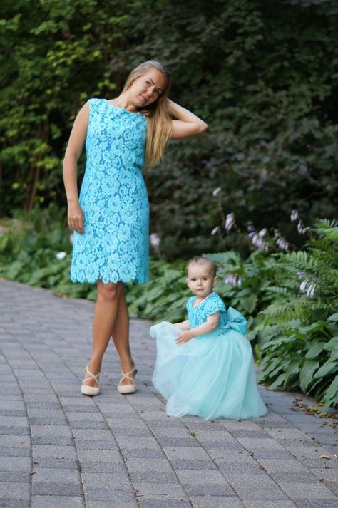 475e35f38a Teal Mother daughter matching tutu lace dress, Mini dresses for Mom ...