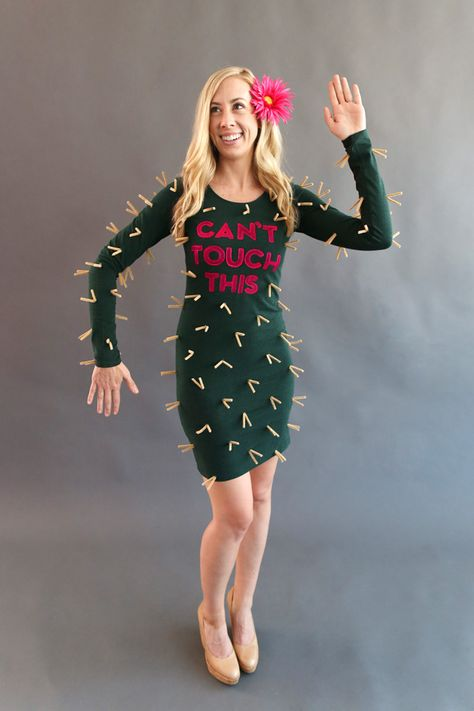 """Cactus: Nothing can touch this prickly costume! Write """"Can't Touch This"""" using acrylic paint and stencils or iron-on letters on the torso area of a solid green dress. Fold several dozen tan pipe cleaners in half, and hot glue the tips of the creases onto the costume. For a finishing touch, tuck a fake flower behind your ear."""