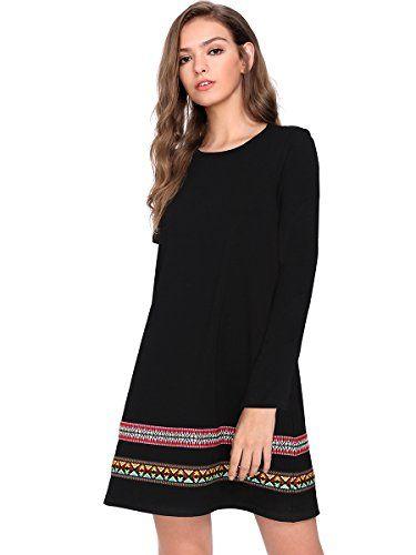 correspondant en couleur chaussures authentiques personnalisé ROMWE Robe Boho femme manches courtes Tunique noir manches ...