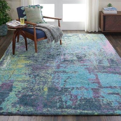 Nourison Abstract Shag Abs02 Teal Indoor Area Rug 7 6 X 9 6