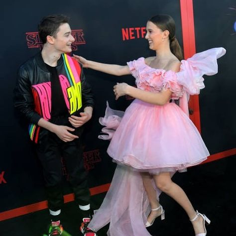 Millie Bobby Brown and Noah Schnapp attend the premiere of Stranger Things Season 3