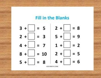 Fill In The Blanks Addition A 10 Worksheets By Kids Math Zone Tpt Kids Math Worksheets Math Worksheets Worksheets