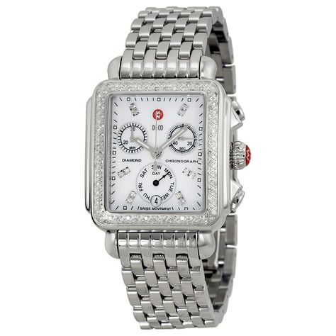 Michele watches capture the spirit of Miami with colorful designs in luxurious, flamboyant materials. This women's watch from the Deco collection features a silver stainless steel bracelet and mother of pearl chronograph diamond dial
