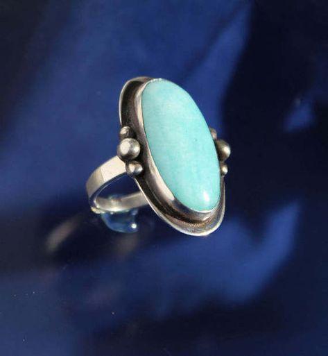 Larimar Ring Bezel set Stone Sterling Silver Artisan Jewelry Handmade by RichieStubStudio on Etsy