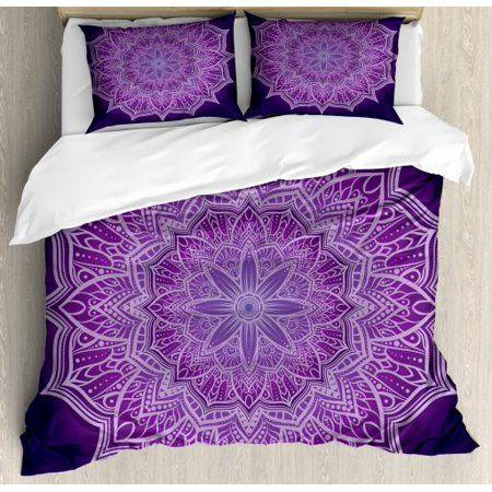 Purple Mandala King Size Duvet Cover Set Hand Drawn Doodle Lace Mandala With Floral Motifs Decorative 3 Piece Bedding Set With 2 Pillow Shams Pale Mauve Dark In 2021 Purple Bedding Sets
