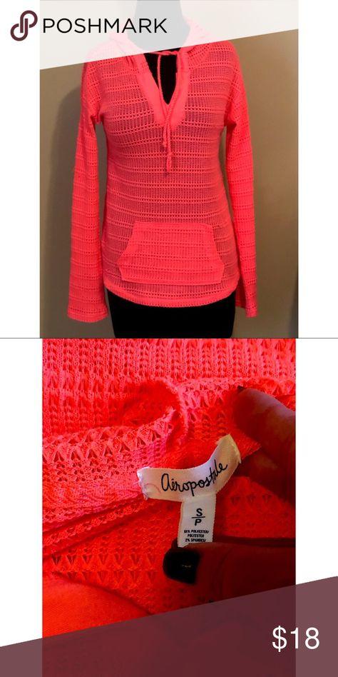 Aeropostale knit hoodie, size Small Petite Aeropostale knit hoodie, size Small Petite, beautiful neon pink/neon coral color. Lightweight. EUC Aeropostale Tops Sweatshirts & Hoodies