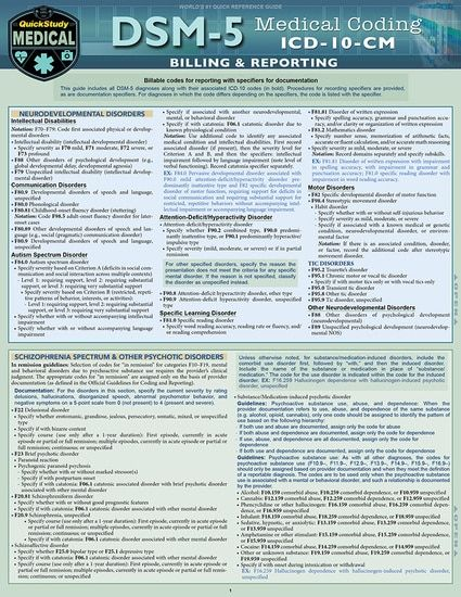 DSM 5 Medical Coding Laminated Reference Guide