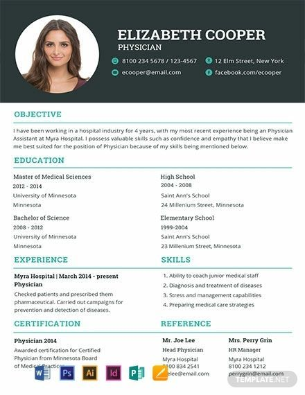 Free Physician Resume Template Indesign Resume Template Resume Template Cv Template