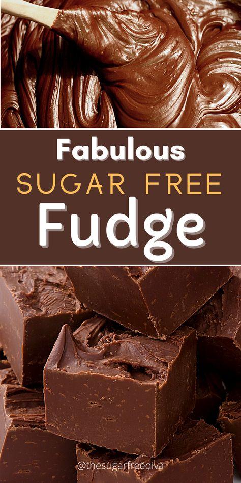 Sugar Free Fudge, Sugar Free Deserts, Sugar Free Baking, Sugar Free Sweets, Sugar Free Candy, Low Carb Sweets, Sugar Free Recipes, Low Carb Desserts, Diabetic Friendly Desserts
