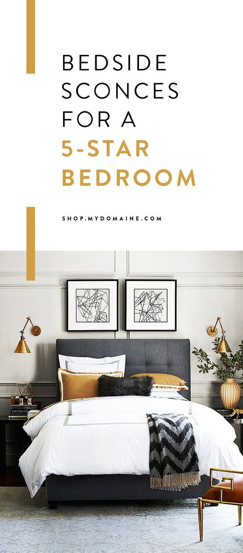 Are your nightstands topped with sad-looking mismatched lamps? Give your bedroom a quick boutique hotel–inspired makeover this weekend with these chic sconces.