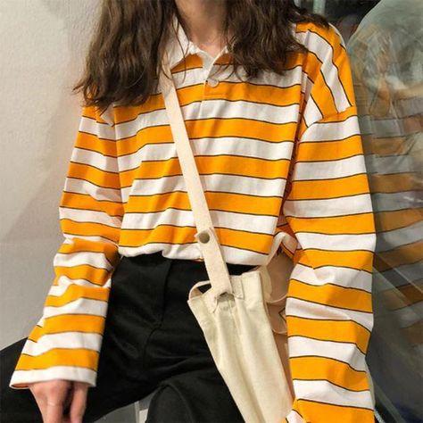 Striped Orange Polo Blouse