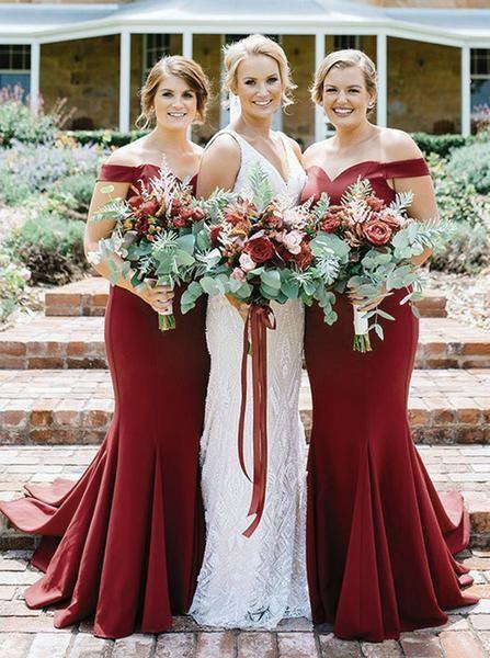 Burgundy Bridesmaid Dress Mermaid Bridesmaid Dress Off The