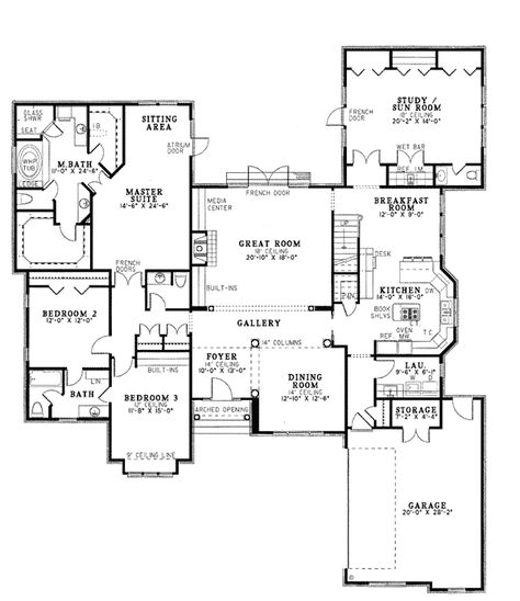 First Floor Plan of Contemporary   Southern   House Plan 61068