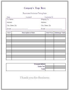 Sample General Invoice Template Certificate Templates