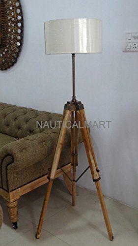Nauticalmart Antique Finish Brown Wooden Tripod Floor Lam Https Www Amazon Ca Dp B01g36v1io Ref Cm Lamps Living Room Wooden Tripod Floor Lamp Tripod Floor