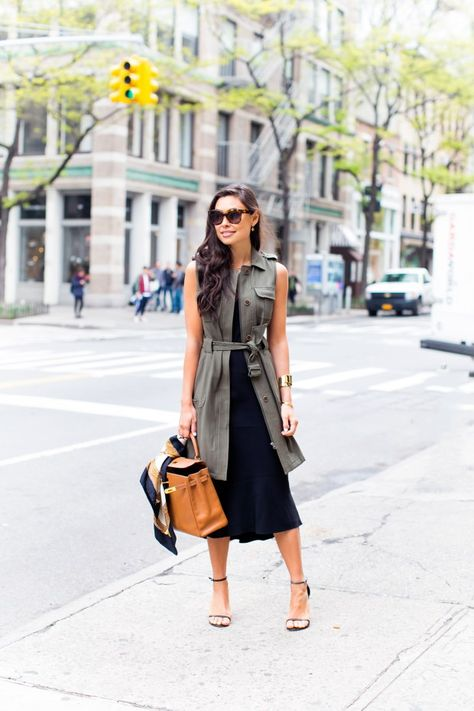 Military Vest in Soho - Olivia Palermo vest // Tibi dress c/o Stuart Weitzman heels // Hermes bag Vintage scarf // Cuff // Sunnies Thursday, May 2016