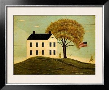 Warren Kimble, House With Flag