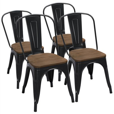 Smilemart Metal Dining Chairs With Wooden Seat Set Of 4 Black Walmart Com Farmhouse Dining Chairs Metal Dining Chairs Dinning Room Chairs