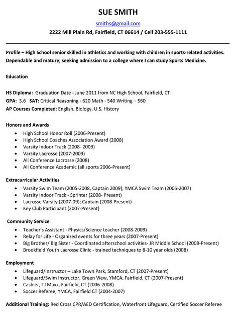 example resume for high school students for college applications - resumes for highschool students