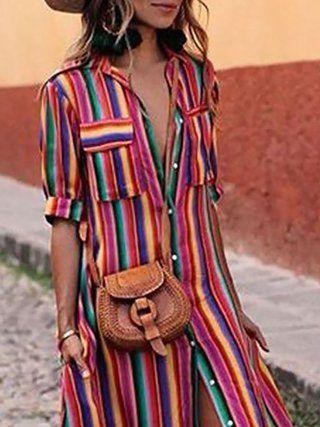 a8b4878bf8 Shawl Collar Women Casual Dress A-line Half Sleeve Elegant Paneled Stripes  Dress