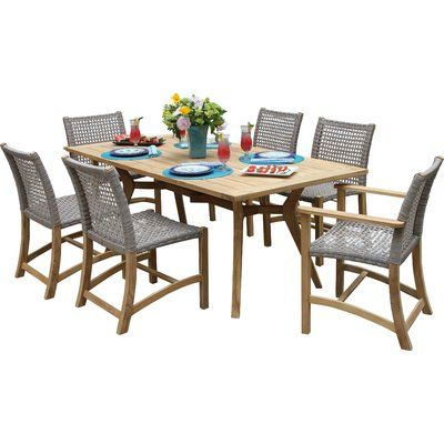 Beachcrest Home Marva 7 Piece Teak Dining Set Clearance Outdoor Furniture Wicker Dining Chairs Teak Patio Furniture