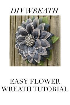 easy home decor DIY Wreath Tutorial, Ea - Burlap Flower Wreaths, Deco Mesh Wreaths, Fall Wreaths, Floral Wreaths, Fall Burlap Wreaths For Front Door, Wreath Burlap, Burlap Crafts, Wreath Crafts, Diy Wreath