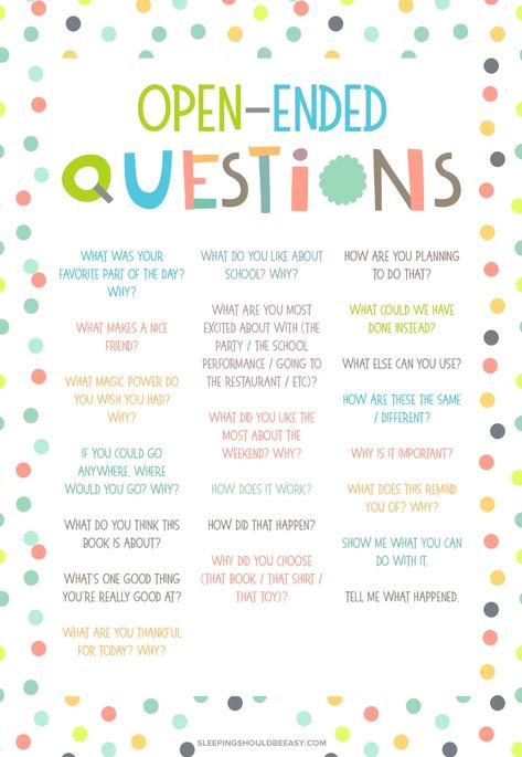 20 Open Ended Questions for Kids