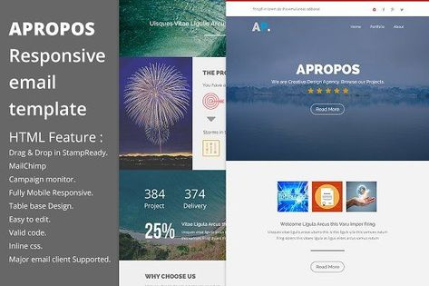 5 Email templates bundle I + Builder by ThemesCode on - business newsletter templates free